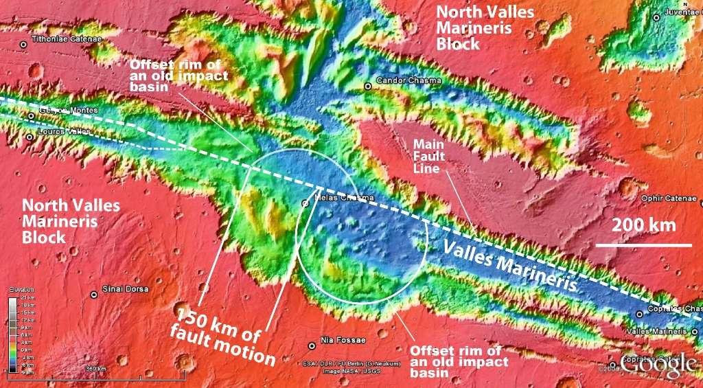Sur cette image provenant de Google Mars on voit en fausses couleurs une partie de Valles Marineris. Deux arcs de cercle blancs montrent un décalage (offset) entre deux parties d'un ancien cratère d'impact. Ce décalage d'environ 150 km de distance indiquerait que l'on est en présence de la frontière de deux plaques tectoniques, appelées Valles Marineris nord et Valles Marineris sud. © Google Mars-Mola Science Team-UC Regents