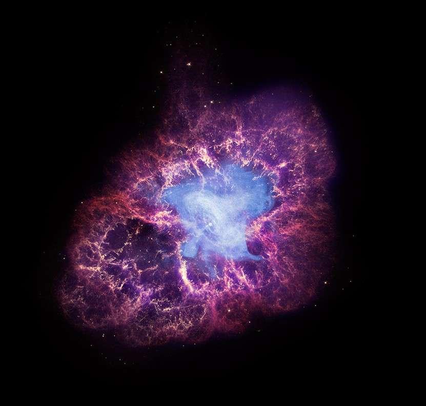Une composition des images de trois télescopes spatiaux de la Nasa révèle toute la complexité de la nébuleuse du Crabe. Crédit Nasa