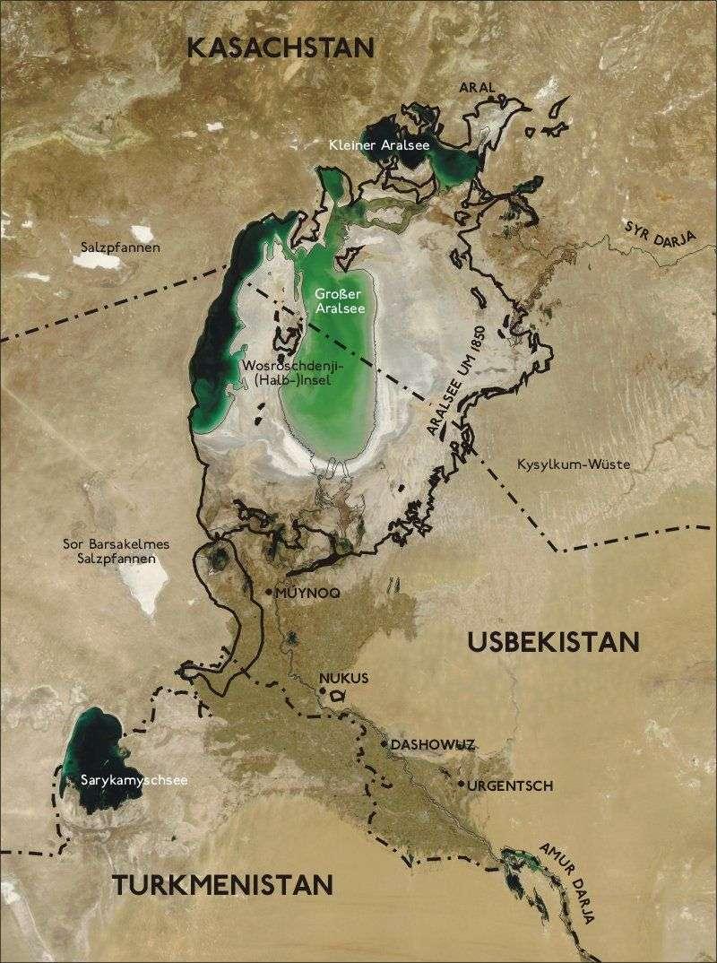 Carte de la région superposée à une image satellite (2004). Crédit NASA.