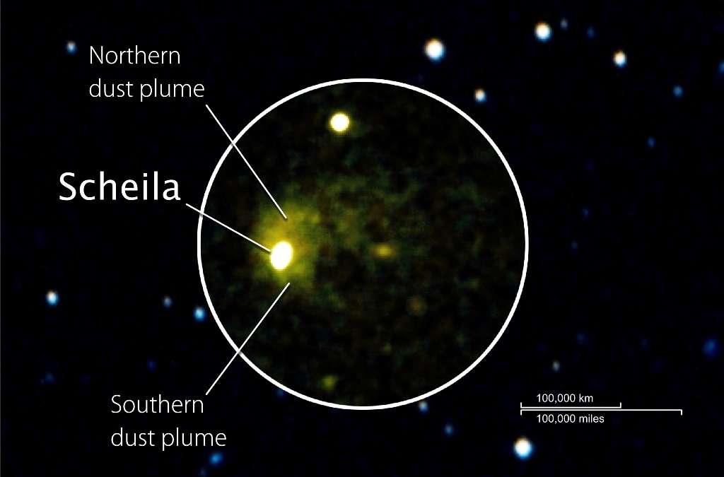 L'astéroïde Scheila avec les deux panaches de poussières (dust) s'élevant des hémisphères nord et sud ( northern, southern). © Nasa/Swift/DSS/D. Bodewits (UMD)