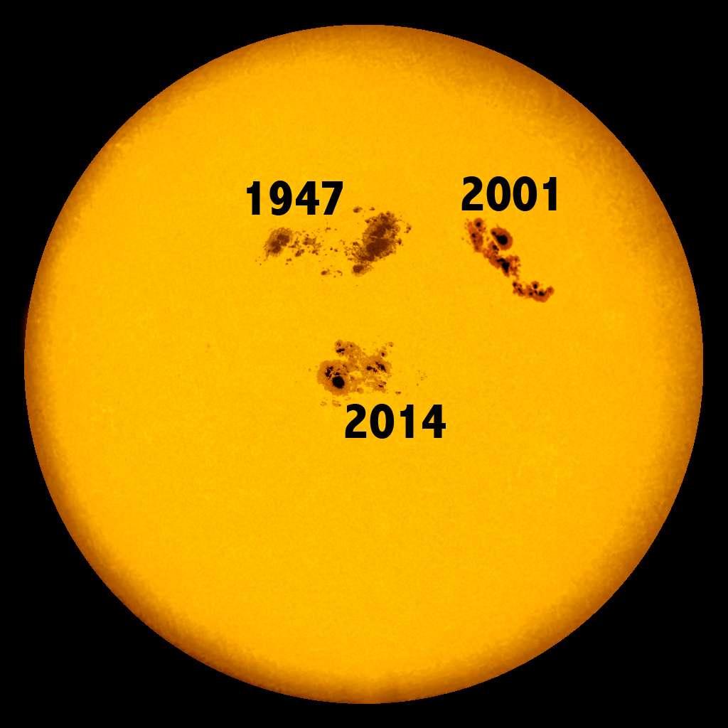 Sur ce photomontage, les trois plus grandes taches sombres observées sur la photosphère du Soleil depuis 1947 sont réunies. © Hagan Hesley