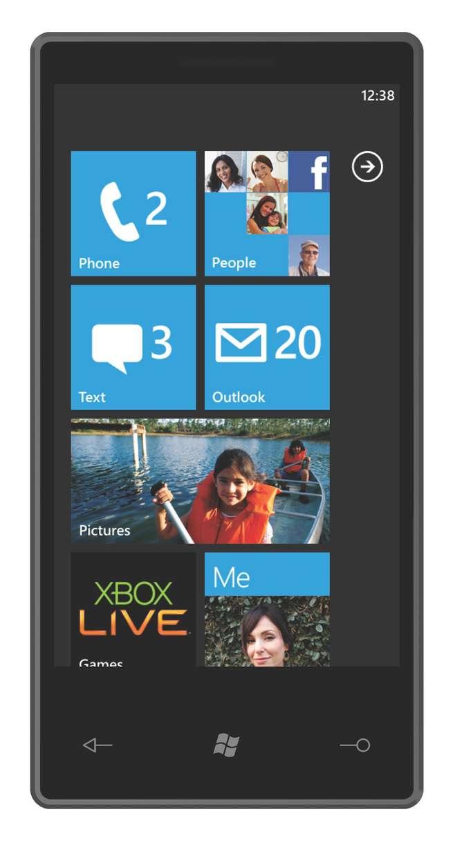 L'écran qu'affichera un mobile embarquant le logiciel système Windows Phone 7. Les grandes vignettes bleues remplacent les icônes et ouvrent l'accès à des fonctions regroupées par nature (photos, réseaux sociaux, achats en ligne, outils bureautiques...). © DR
