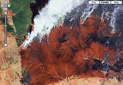 Feux de forêt en Sibérie vus au moyen de Google Earth en 2007.