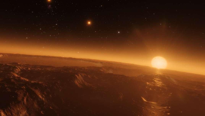 Vue d'artiste d'un possible environnement sur une des planètes tournant autour de l'étoile Trappist-1, qui pourrait effectivement abriter un océan. © ESO