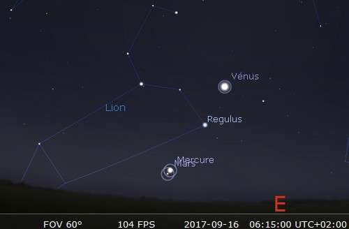 Mars en rapprochement avec Mercure