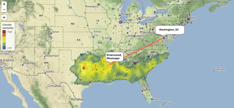Les chercheurs ont créé une carte interactive montrant les modifications attendues sur le climat de 540 villes aux États-Unis et au Canada en 2080. Washington DC se retrouverait avec un climat plus chaud et plus humide tout au long de l'année, similaire au climat actuel dans le Mississippi. © Capture d'écran de la carte interactive/University of Maryland Center for Environmental Science