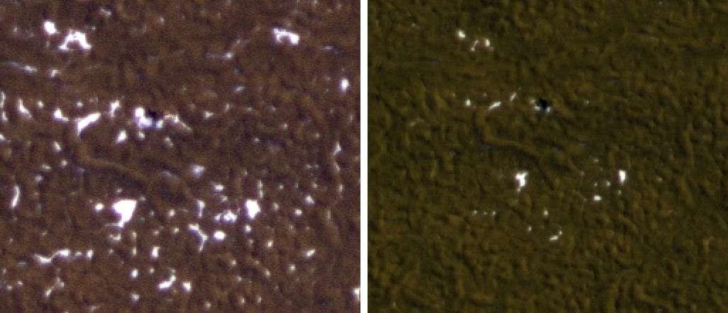 La glace fond autour de Phoenix, comme on peut le constater sur ces deux images prises par la sonde MRO (pour Mars Reconnaissance Orbiter), la première le 8 février 2010, la seconde 17 jours plus tard. Crédit Nasa/JPL/Caltech/University of Arizona