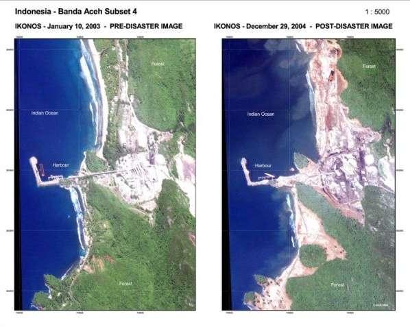 Une côte indonésienne avant et après le tsunami causé par le séisme de magnitude 9,3 survenu dans l'océan Indien le 26 décembre 2004. Ces dernières années, Sumatra a été touché par des tremblements de terre d'une magnitude supérieure à 7 en 2004, 2005, 2007, 2008, 2009, 2010 et 2012. © disasterscharters.org