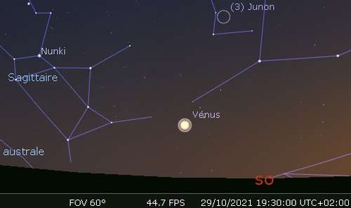 Élongation maximale de Vénus à l'est du Soleil