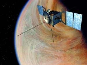Dessin d'artiste de l'orbiteur Venus Express en orbite autour de Vénus.Crédit : ESA 2002. Illustration by Medialab