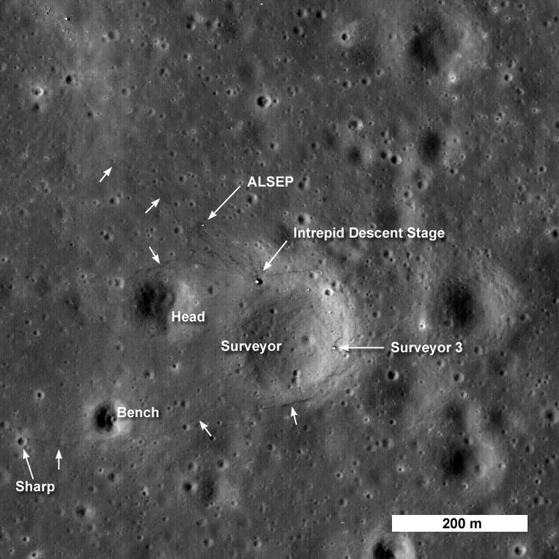 Sur cette photo prise par LRO le module lunaire Intrepid est visible au bord du cratère Surveyor. Deux petits cratères étudiés et échantillonnés le sont également, Head et Bench. Quant au cratère Sharp, il constitue le point le plus éloigné rejoint par les astronautes. Les flèches blanches indiquent les traces de pas laissés par les astronautes. Crédit : NASA/Goddard Space Flight Center/Arizona State University