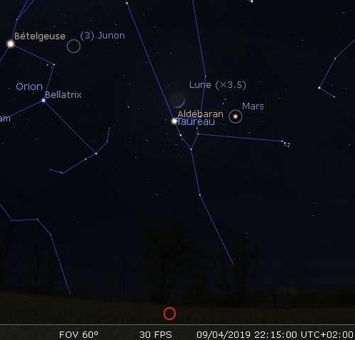 La Lune en rapprochement avec Aldébaran et Mars