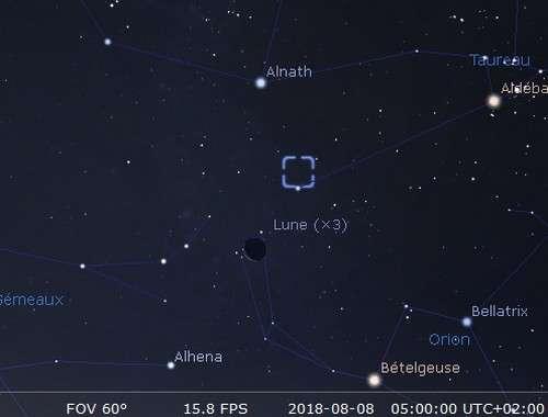 La Lune en rapprochement avec la nébuleuse du Crabe et Alhena