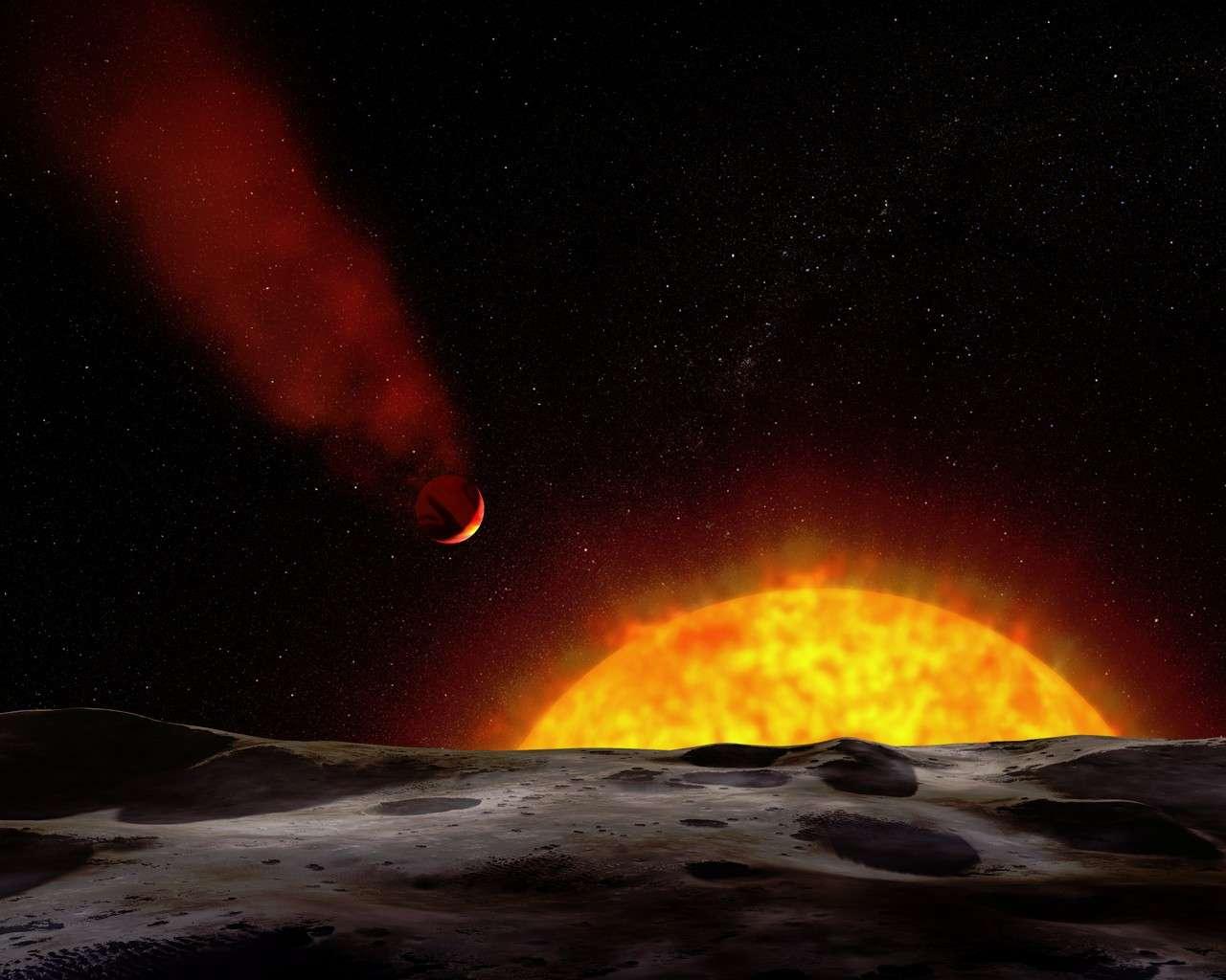 Cette image d'artiste montre à quoi pourrait ressembler HD 209458b vue d'une exoplanète proche. Crédit Nasa/ESA/G. Bacon (STScI)