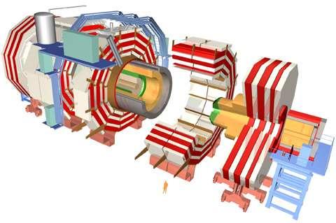 Le détecteur CMS (Compact Muon Solenoid, Solénoïde compact pour muons) est, comme Atlas, dédié à l'étude des interactions proton-proton. © Cern