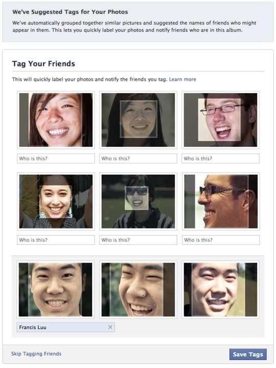 Les amis reconnus sur les photos publiées : une fonction bienvenue pour beaucoup d'utilisateurs, mais qui suscite des inquiétudes chez les spécialistes en sécurité informatique. © Facebook