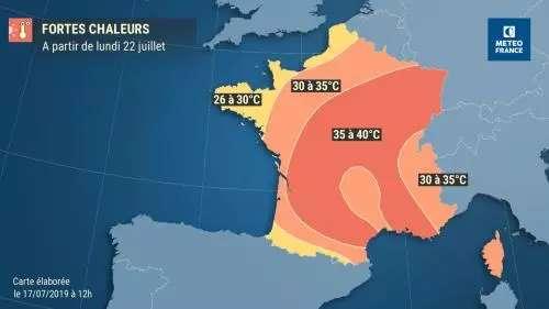 Après l'épisode de canicule précoce de fin juin, les fortes chaleurs sont de retour dès lundi prochain, avec des températures maximales allant de 35 à 40 °C pour toute une partie de la France allant du Sud-Ouest au Centre-Est, selon les prévisions de Météo-France. © Météo-France