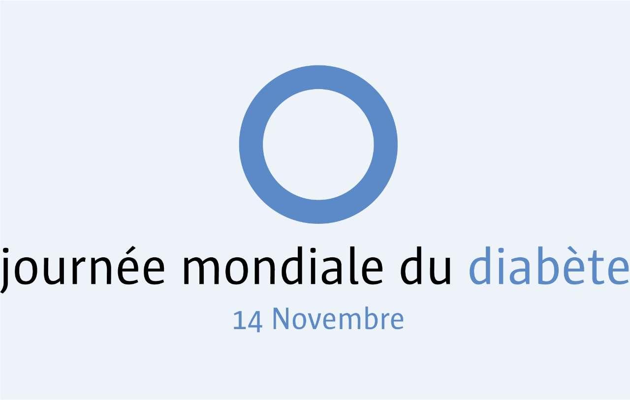 Le logo officiel de la Journée mondiale du diabète. Certaines pharmacies réalisent une mesure gratuite de la glycémie.