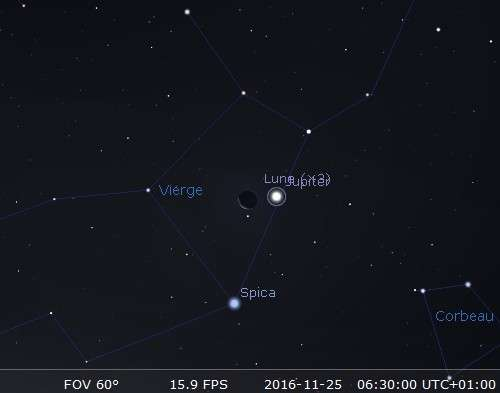 La Lune en rapprochement avec Jupiter et Spica