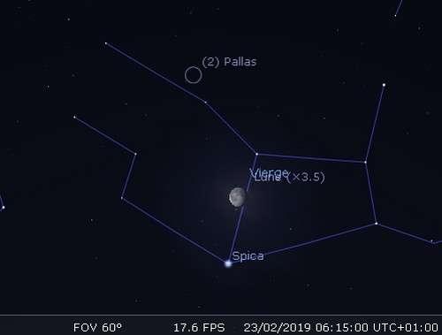 La Lune en rapprochement avec Pallas et Spica