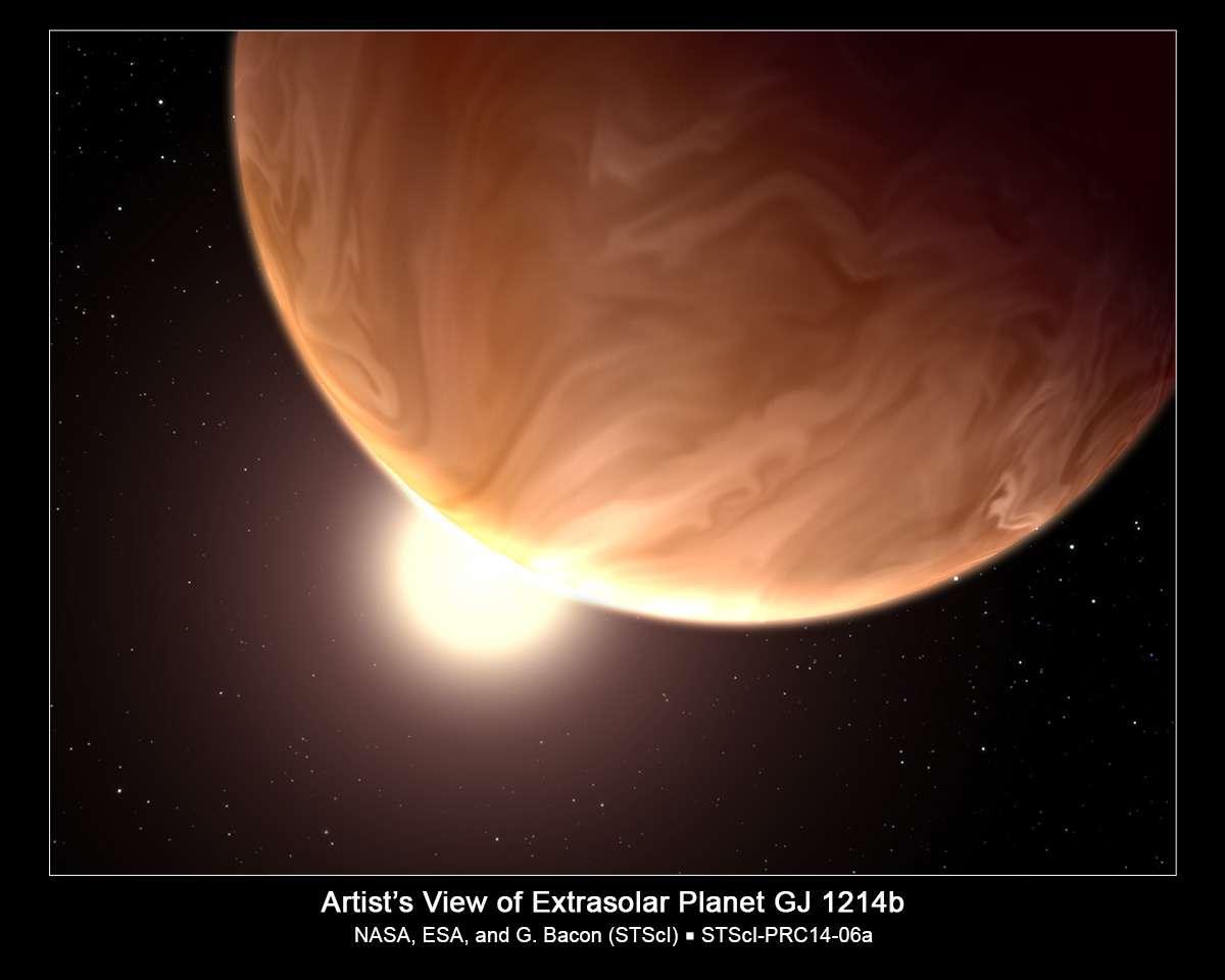 Une vue d'artiste de GJ 1214b, une superterre malheureusement inhabitable du fait des hautes températures qui y règnent. Elle est recouverte d'une couche nuageuse dont la composition est encore inconnue. Mais les prochaines générations d'instruments seront en mesure de percer ce voile de nuages. © Nasa, Esa, G. Bacon (STScI)