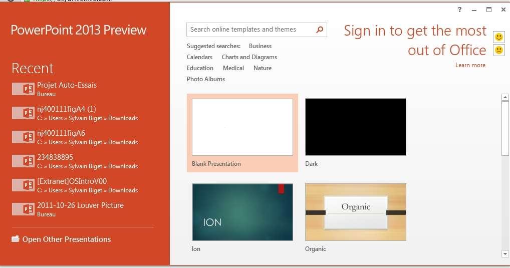 Les logiciels de la suite Microsoft Office 2013 s'ouvrent désormais sur une page d'accueil présentant une liste de modèles courants au lieu d'une page vierge. © Sylvain Biget, EP