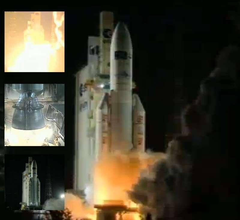 Pour sa première mission de l'année, Arianespace a lancé avec succès un Véhicule de transfert automatique de l'Esa. Ce troisième ATV a décollé à 5 h 34 du Centre spatial guyanais. © Esa TV