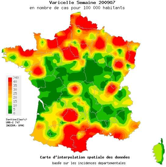 L'épidémie de varicelle tarde à décroître et touche particulièrement certaines régions, notamment le Languedoc-Roussillon, une partie de la Normandie et le Nord-Pas-de-Calais. © Réseau Sentinelles