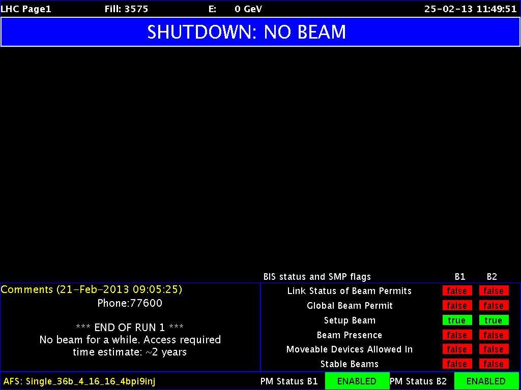 Une vue d'un des écrans de contrôle du LHC montrant l'état de la circulation des faisceaux de particules. Le LHC est à l'arrêt pour au moins deux ans. © Cern