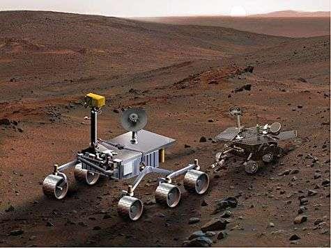 Représentation comparée de Mars Science Laboratory et d'un des robots jumeaux Spirit ou Opportunity. Crédit Nasa