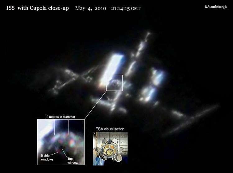 Le 4 mai 2010, l'astronome amateur hollandais Ralf Vandebergh a pris cette photo de la Station Spatiale Internationale où l'on peut voir notamment la nouvelle coupole et ses fenêtres. Crédit R. Vandebergh