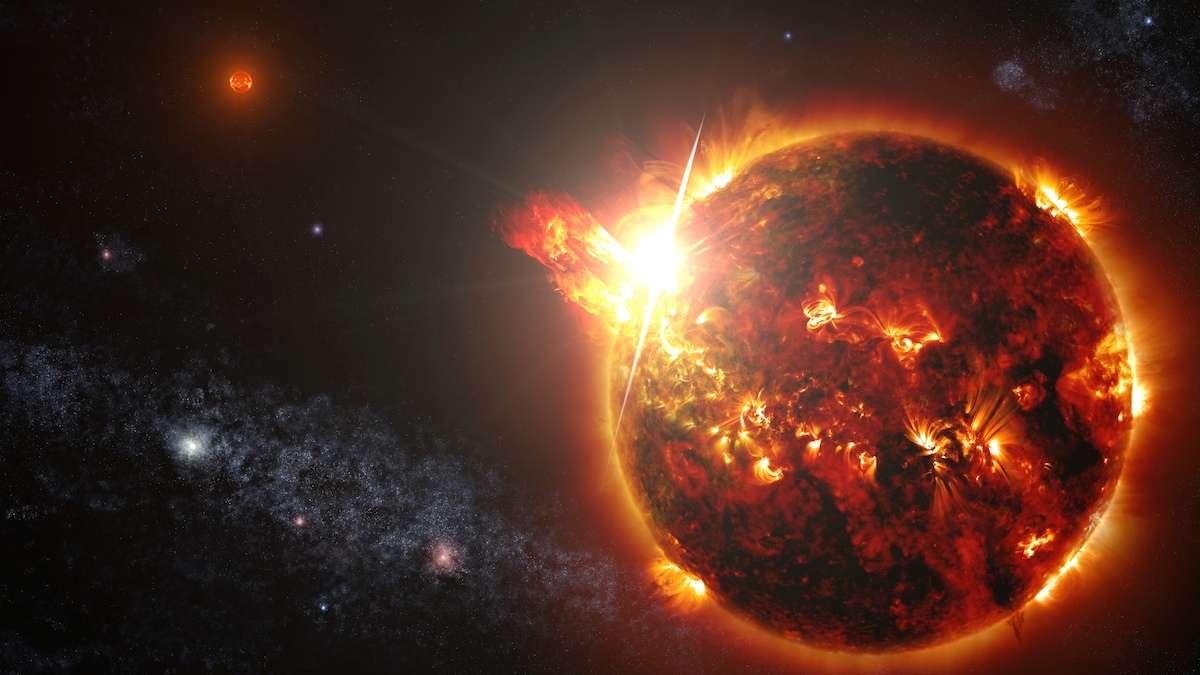 Illustration du couple de naines rouges DG Canum Venaticorum ou DG CVn, situé à quelque 60 années-lumière du Système solaire. L'une d'elles connut plusieurs éruptions dont la plus importante fut 10.000 fois plus puissante que l'éruption solaire la plus intense connue, enregistrée en novembre 2003. Sa luminosité dans le rayonnement X dépassait celle des deux astres dans toutes les longueurs d'onde. © Nasa, Goddard Space Flight Center, S. Wiessinger