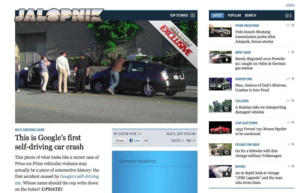 Une photo de l'incident prise par un témoin et publiée sur http://jalopnik.com/5828101 © DR