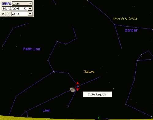 La Lune est en conjonction avec l'étoile Régulus