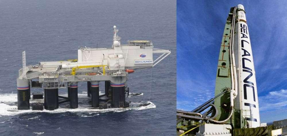 Odyssey, la plateforme de Sea Launch. Avant le lancement, son équipage est tranféré à bord du Sea Launch Commander, le bâtiment qui gère les opérations. © Sea Launch