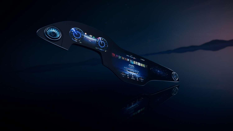 L'écran multifonctions Hyperscreen MBUX de Mercedes-Benz se destine à sa future berline électrique EQS. © Mercedes-Benz