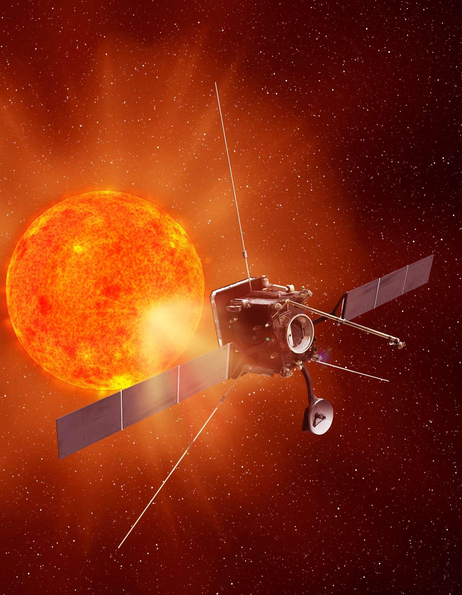 En s'approchant au plus près du Soleil, la sonde Solar Orbiter devrait apporter de nouveaux éclairages sur les interactions du Soleil avec son environnement, ainsi que sur les mécanismes de formation du vent solaire dans lequel les planètes évoluent. © Astrium/Esa