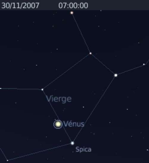La planète Vénus est en conjonction avec l'étoile Spica