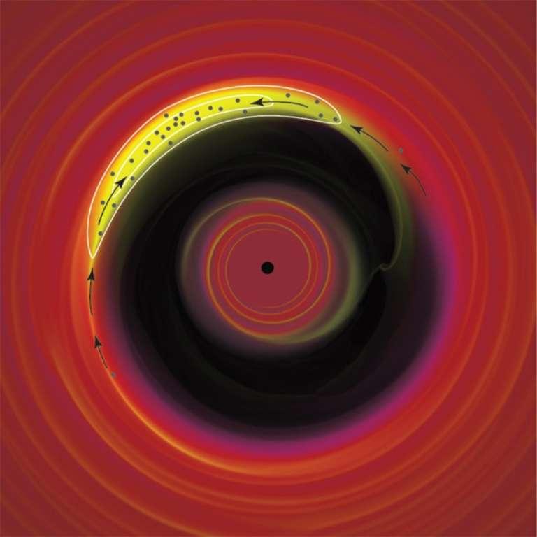 Une illustration d'artiste du disque de transition troué autour de l'étoile du système Oph-IRS 48. On voit en haut à gauche la zone où se situe un piège à poussières, un anticyclone prédit en 1995 par deux chercheurs français qui voulaient comprendre comment des corps rocheux d'une taille supérieure au mètre pouvaient se former dans un disque protoplanétaire. Il s'agissait d'une énigme cosmogonique à l'époque. Aujourd'hui les observations d'Alma semblent bel et bien confirmer la théorie de l'astronome Pierre Barge et son collègue le physicien Joël Sommeria. © Philip J. Armitage, Science