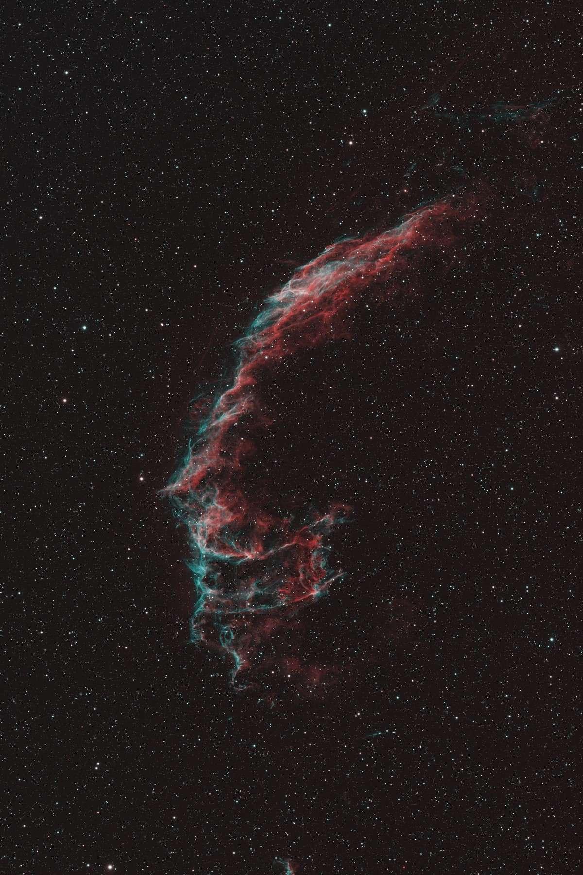 Une partie des Dentelles du Cygne ; les filaments gazeux voyagent dans l'espace depuis l'explosion de la supernova il y a plusieurs dizaines de milliers d'années. Crédit Lucien Marcot