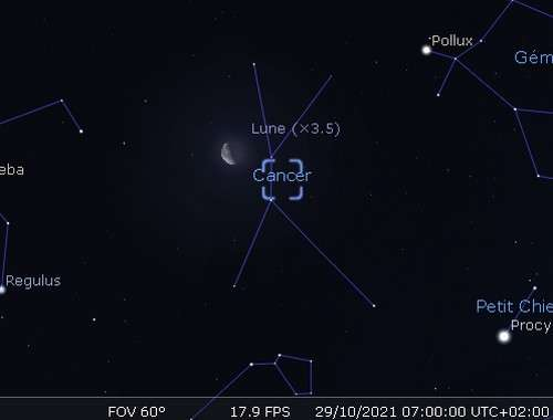 La Lune en rapprochement avec l'amas de la Crèche