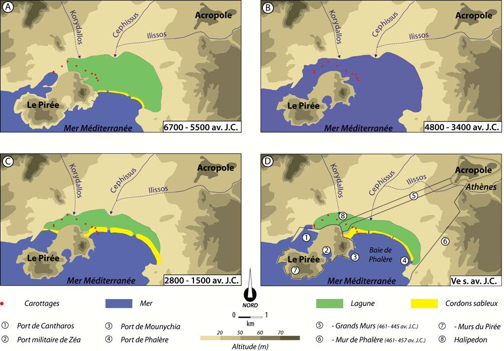 Évolution des paysages côtiers entre Athènes et le Pirée depuis le VIIe millénaire avant J.-C. © dessinateur Julien Cavero, CNRS, Université Lyon 2