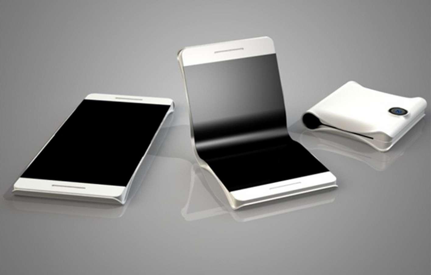 Voici à quoi pourrait ressembler l'un des smartphones à écran pliable que Samsung est censé dévoiler début 2017, lors du Mobile World Congress. © DR