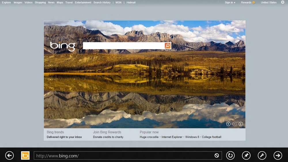 La Consumer Preview de Windows 8 intègre la toute nouvelle version du navigateur Internet Explorer 10 qui propose une interface très épurée destinée à mettre en avant l'affichage des pages Internet. © Microsoft