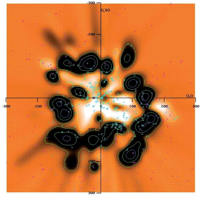 Carte des nuages de gaz interstellaire partiellement ionisés à moins de 300 parsecs autour du Soleil dans le plan galactique. Les triangles indiquent les étoiles utilisées pour produire la carte. Les couleurs allant du blanc au noir représentent la densité croissante des gaz, et en orange les régions sans mesures fiables. La Bulle locale est représentée par la zone blanche de faible densité de gaz qui entoure le Soleil à environ 80 parsecs. Crédit : B. Y. Welsh (UCL Berkeley, Etats-Unis), R. Lallement, S. Raimond (Université Versailles-St Quentin/CNRS), J.-L. Vergely (ACRI-ST)
