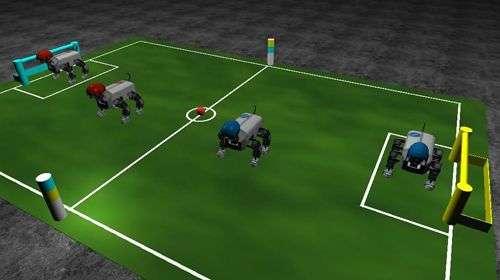 Simulation de Robocup jouée par Robodog. Crédit Robosoft.