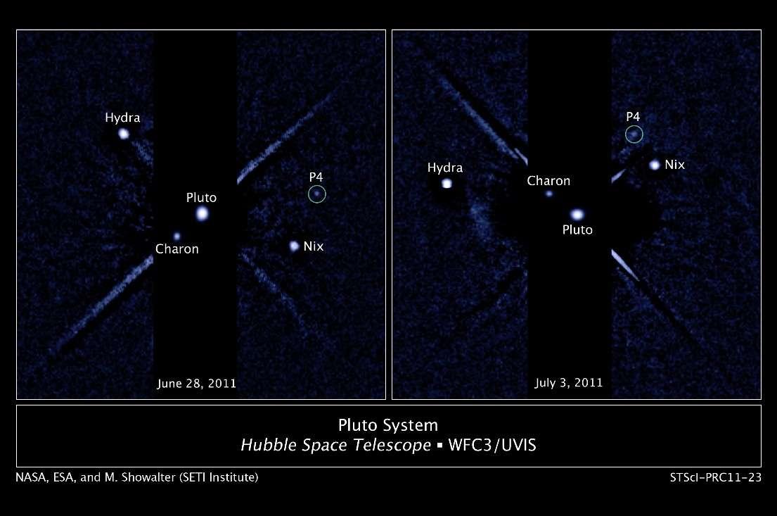 Le télescope spatial Hubble a suivi le déplacement des satellites de Pluton sur plusieurs jours, dont un nouveau venu provisoirement baptisé P4. © Nasa/Esa/M. Showalter (Seti institute)