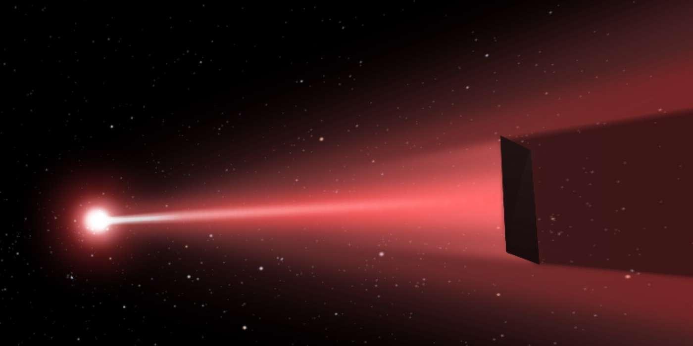 Sera-t-il bientôt possible d'envoyer un vaisseau sur Mars en seulement 3 jours, d'y faire venir des êtres humains en un mois et de rendre le voyage interstellaire accessible grâce à la propulsion photonique ? C'est le pari du physicien Philip Lubin qui présente son projet Deep In. Ici, illustration d'une voile poussée par un laser. © Q. Zhang