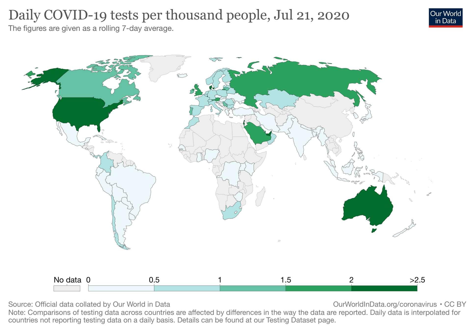 Nombre de tests de dépistage pratiqués pour 1.000 habitants. Le chiffre est de 0,79 pour la France. © Our World in Data