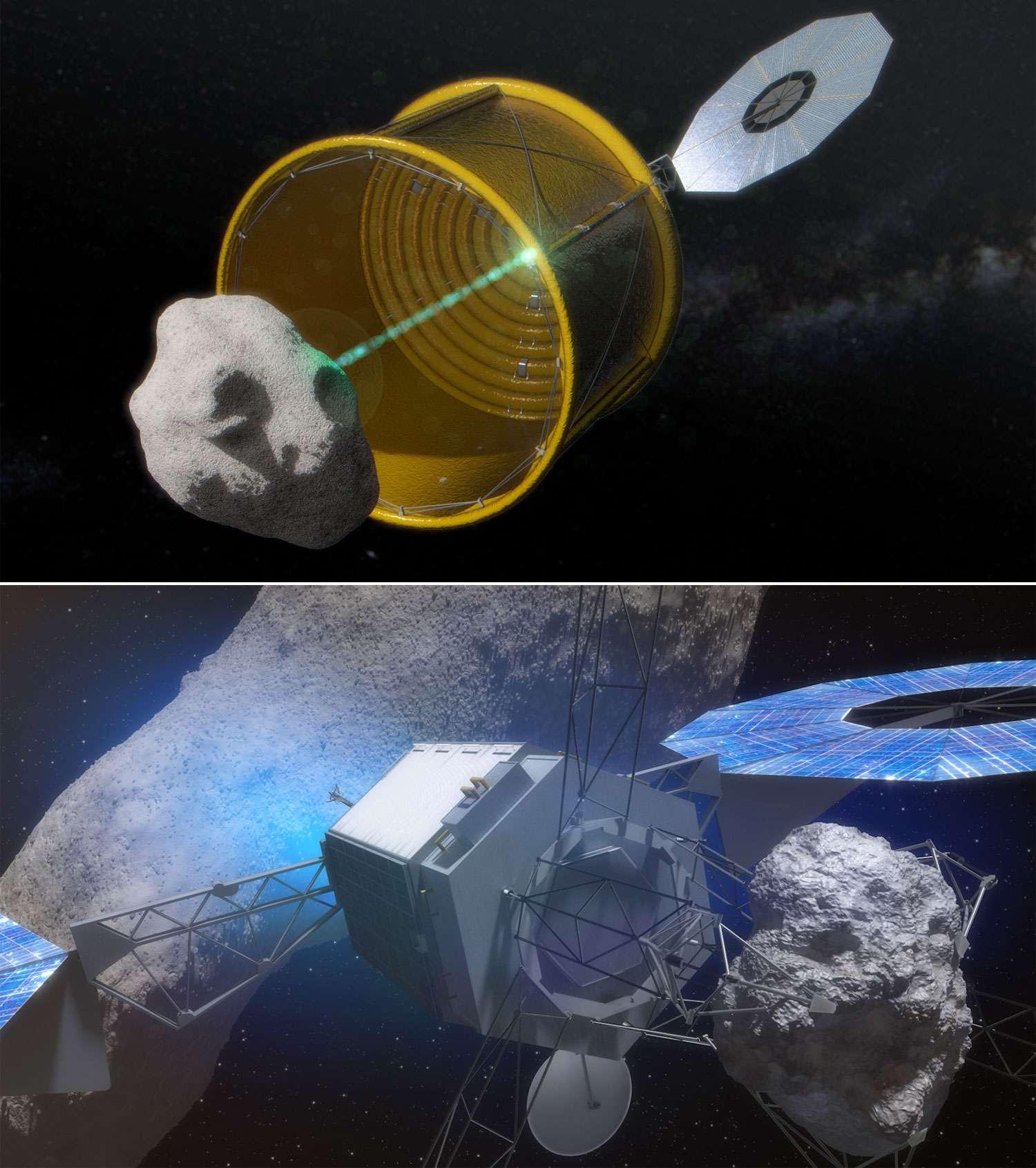 Les deux concepts permettant la capture d'un astéroïde que la Nasa étudie. L'option A, celui du big bag, et l'option B qui prévoit l'utilisation de bras robotisés. © Nasa
